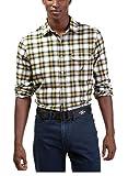 Nautica Coastal Isles Mens Yellow Plaid Flannel Shirt Medium M Long Sleeve