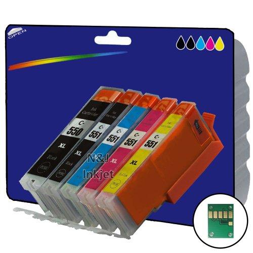1 Set mit 5 High Capacity Kompatible Tintenpatronen für Canon Pixma iP7250 iP8750 iX6850,,, MG5650, MG5450, MG5550, MG6350, MG6450, MG7150, MG6650, MG7550, MX725, MX925