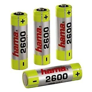 Hama NiMH Rechargeable Batteries 4x AA (Mignon - HR 6) 2600 mAh/1.2 V - Batería/Pila recargable (Níquel e Hhidruro Metálico, 2600 mAh, 1.2 V)