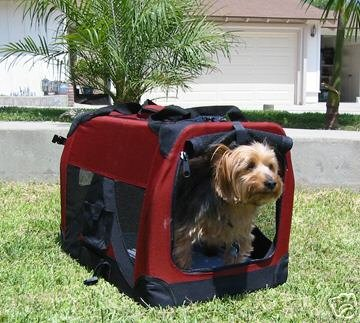 Small Maroon Pet Soft Crate/Carrier For Travel, Indoor And Outdoor