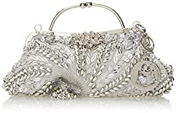 MG Collection Adriana Beaded Evening Bag, Silver, One Size