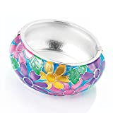 Floral Pattern Hinged Fashion Bangle Multi