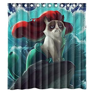 Custom little mermaid grumpy cat waterproof bathroom shower curtain