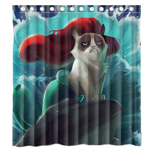 Custom Grumpy Cat Of Little Mermaid Waterproof Polyester Fabric Bathroom Shower Curtain Standard Size 66