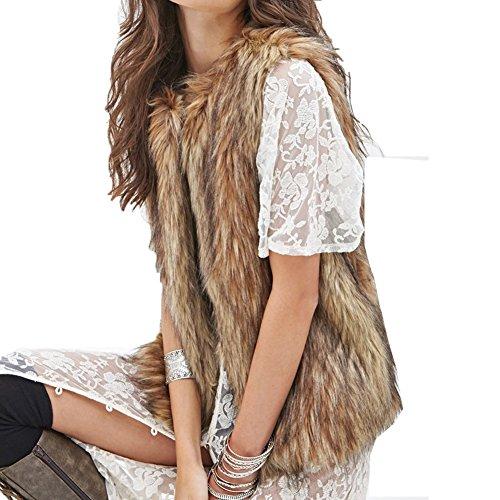 Friendshop Women Winter Casual Faux Fur Vest Waistcoat Warm Coat Outwear Faux Fur Vest