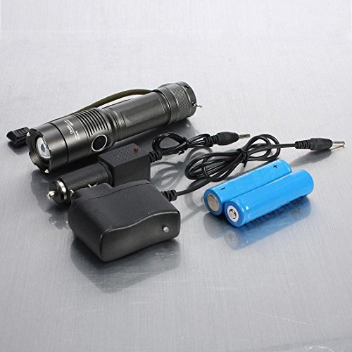 Crucial Popular 3 Mode LED 3000LM Flashlight Zoom Adjustable Rechargeable Aluminium Alloy Color Gray with Battery Charger