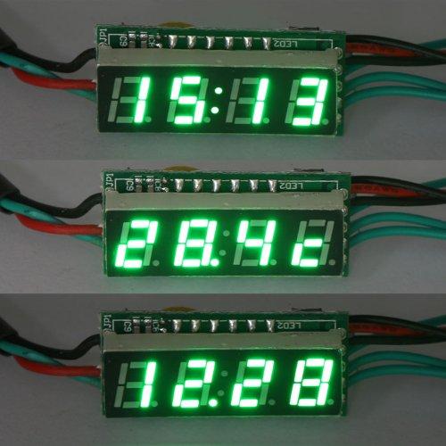 "Drok Digital Clock Voltmerter Temperature Gauge 3In1 Panel Meter, 0.28"" Green Led Display"