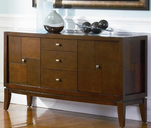 Cheap Server Sideboard with Cracked Glass Top in Cappuccino Finish (VF_102055)