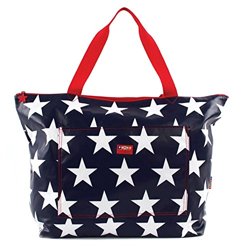 Red white & Navy blue USA Patriotic STAR - Penny Scallan Mom's Large Multipurpose beach Tote Bag