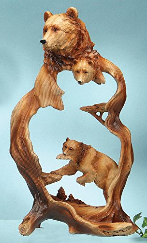 Bear Wood Style Carving Lodge Sculpture - Cabin Decor (Wood Carving Bear compare prices)