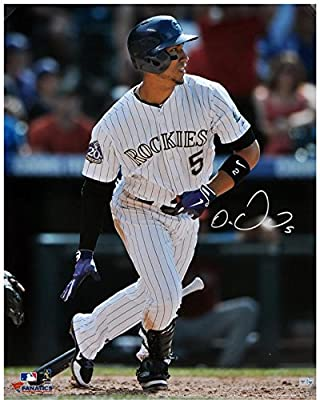 Carlos Gonzalez Colorado Rockies Autographed 16'' x 20'' White Uniform Hitting Photograph - Fanatics Authentic Certified