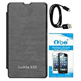 TBZ Flip Cover Case For Microsoft Lumia 535 With Screen Guard And Data Cable -Black