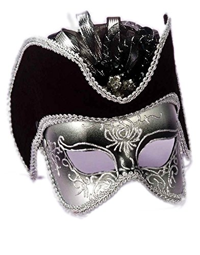 Silver And Black Pirate Venetian Carnival Eye Mask with Tricorn Hat