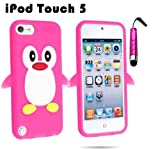 ZAFOORAH® Penguin Silicone Gel Case for Apple iPod Touch 5 5th Generation + Free Stylus + Screen Protector + Microfiber cloth (DARK PINK)