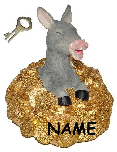 Spardose Goldesel - mit Schlüssel + Namen - stabile Sparbüchse aus Kunstharz - Esel mit Gold Geld Sparschwein Kohle Käse Geldhaufen