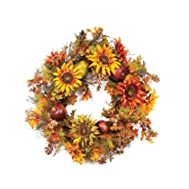 Melrose International  26-Inch Polyester Sunflower Fruit and Berry Wreath