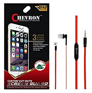 Chevron Ultra Clear HD Screen Guard Protector For Meizu M2 5 inch With Chevron 3.5mm Red Stereo Earphones (With Mic)