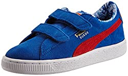 Puma Girls Suede Superman V Kids Strong Blue-Red-Buttercup Leather Chinese Shoes - 11 UK