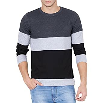 Style shell men 39 s tri colour full sleeve cotton t shirt for Full sleeves t shirts for men