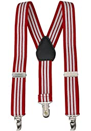 Buyless Fashion Kids Baby Adjustable Elastic Solid Color 1 inch Suspenders - Red White - Size 22 Inch