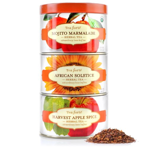 Tea Forte Loose Tea Trio - Herbal Sampler - Mojito Marmalade, African Solstice, Havest Apple Spice