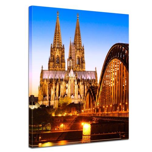 """Bilderdepot24 Leinwandbild """"Kölner Dom - Deutschland"""" - 50x70 cm 1 teilig - fertig gerahmt, direkt vom Hersteller"""