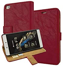 buy P8 Case, Huawei P8 Cover Aomax® Wallet View Stand Premium Protective Leather Cover Case+ Hd Screen Protector For Huawei Ascend P8 Cover (Ikaisp Red)