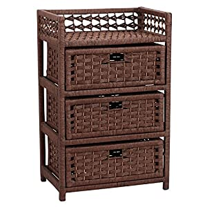 Household Essentials Chest with 3 Drawers, Paper Rope