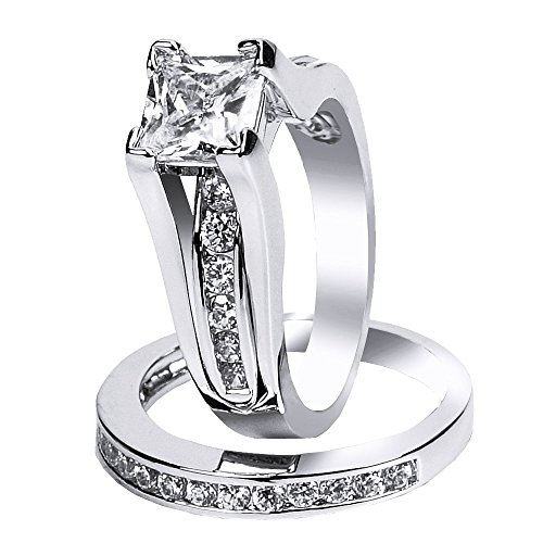 925 Sterling Silver Cubic Zirconia Princess Cut Women's Wedding Engagement Bridal Ring Set