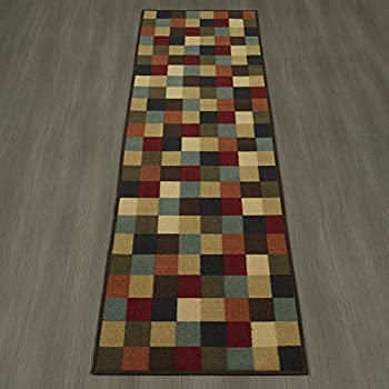 "Ottomanson Ottohome Collection Multi-Color Contemporary Checkered Design Modern Area Rug with Non-Skid (Non-Slip) Rubber Backing, 110"" W X 70"" L"