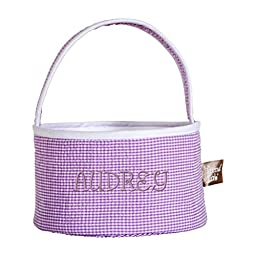 Trend Lab Personalized Lilac Gingham Seersucker Collapsible Round Caddy