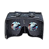 """Babadio Virtual Reality Headset DIY 3D Video Games VR Glasses PU Leather Cartoon Google Cardboard Kit for iPhone 6 6s Plus Samsung S6 S7 Edge and Other 4.0-5.5"""" Smartphones (Black) from Babadio"""