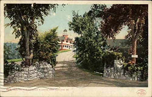 Electric Car Entrance, Riverton Park Portland, Me Original Vintage Postcard