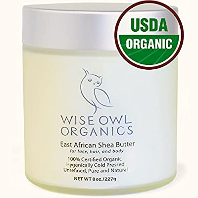 Nilotica East African Organic Shea Butter in a Glass Jar - Use Alone as Hand Cream, Body Butter, Creamy Lotion, Moisturizing Hair Mask & Facial Moisturizer for Best All-In-One Skin Care Product
