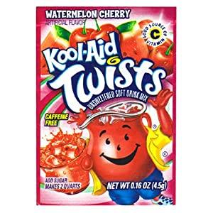 Kool-Aid Twists Watermelon Cherry Unsweetened Soft Drink Mix, 0.16-Ounce Packets (Pack of 96)