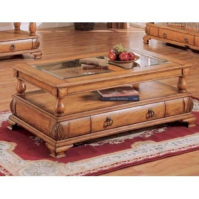 Buy Low Price Distressed Oak Coffee Table With Storage Drawer And Glass Top By Coaster Furniture