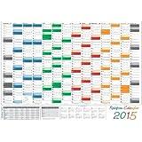 Rainbow Wandkalender / Wandplaner 2015 - DIN A2 Format (594 x 420 mm) mit 14 Monaten, kompletter Jahresvorschau 2016 und Ferientermine/Feiertage aller Bundesländer