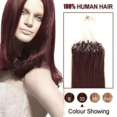 micro loop human hair extensions 18 Inches Remy Hair micro ring/link Dark Auburn(#33) straight Set 100 Strands 0.5g/s deal 2015