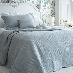 Sashi Bed Linen Milan 100% Cotton Quilted Bedspread, Duck Egg Blue, Double       reviews