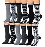 Tipi Toe Women's 12-Pairs Monochrome Patterned Crew Socks, (sock size 9-11) Fits shoe size 5-9, WC05-AB