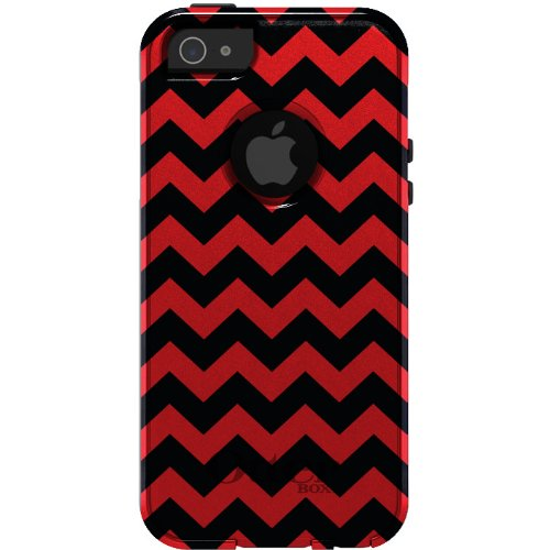 Best savings for CUSTOM OtterBox Commuter Series Case for iPhone 5 5S – Chevron Stripes Zig Zag (Black & Red)