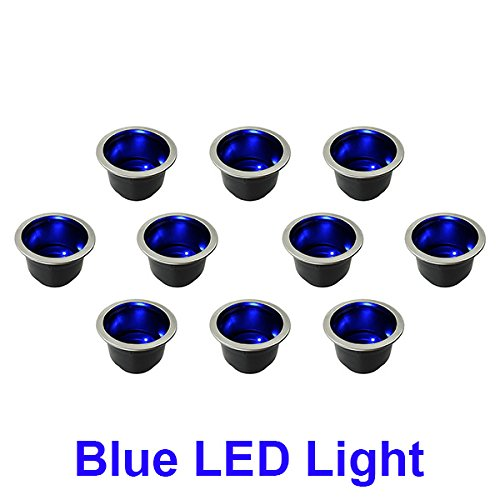 10 NEW BLUE LED LIGHT MARINE BOAT RV CAMPER CUP DRINK HOLDERS LIGHTS UP BLUE W DRAIN 12V (Camper Cup Holder compare prices)