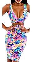 Qiyun Rainbow Femmes Colorees Sexy Profondes Bandages Moulantes Col V Club De Partie De Robe De Plage Combinaisons