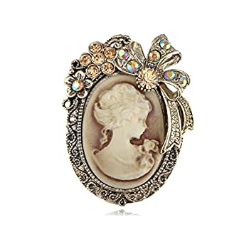 Alilang Vintage Inspired Crystal Rhinestone Victorian Lady Cameo Brooch Pin Maiden Flower Ribbon Bow Pendant