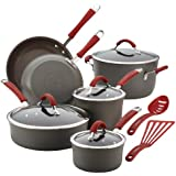 Rachael Ray Cucina Hard-Anodized Nonstick 12-Piece Cookware Set, Gray with Cranberry Red Handles