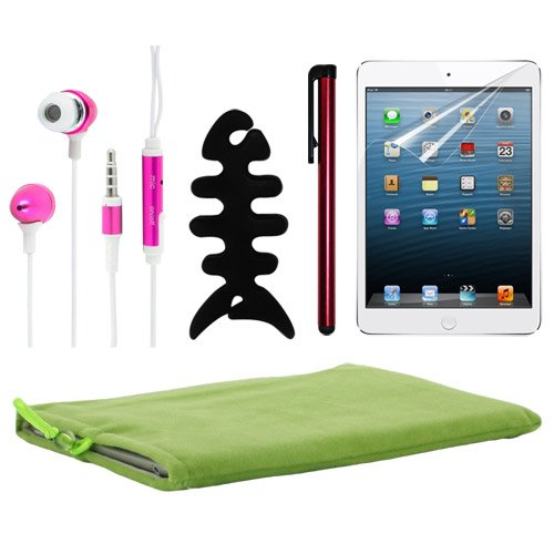 Skque Green Soft Sleeve Cloth Pouch Velvet Case Cover + Anti Scratch Screen Protector + Red Universal Stylus Pen + Pink 3.5Mm Remote Mic Metal Earphone + Black Earphone Fish Bone Holder For Apple Ipad Mini