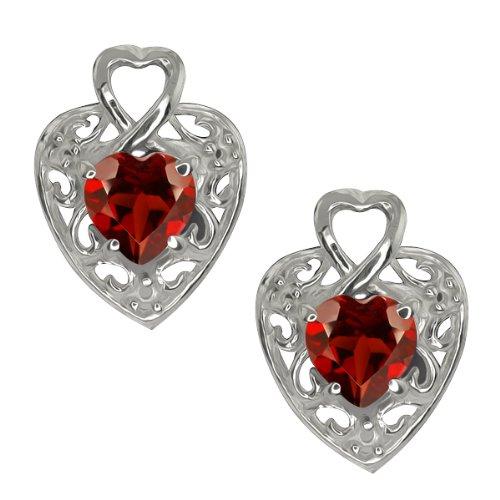 1.80 Ct Heart Shape Red Garnet 10k White Gold Earrings