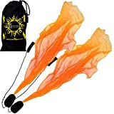 Flames N Games ANGEL POI Set (Orange) Practice Poi AKA Scarf Spiral Poi + Travel Bag