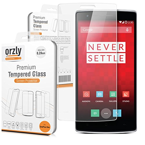 Orzly® - OnePlus ONE Premium Tempered Glass 0.24mm Protective Screen Protector for the Original Premier Launch Model of SmartPhone called 'ONE' by ONE PLUS (Alias: New 2014 Release Version / First Ever Flagship Model of Smart Phone released by 'ONE PLUS' known as the 'ONE' / etc.)