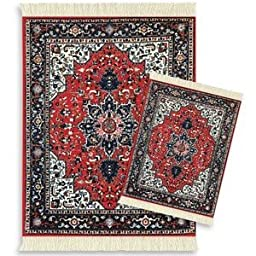 Lextra Tabriz Heriz MouseRug and CoasterRug Set, 10.25 x 7.125 Inches, Red, Navy and White, One MouseRug and One Matching CoasterRug (ATH-S)